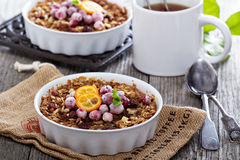 Baked oatmeal with carrot, walnuts and raisins Stock Photo