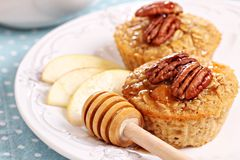 Baked oatmeal with pecans and apples Stock Photos