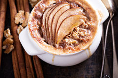 Baked oatmeal with spices and pears Royalty Free Stock Photos