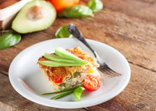 Baked Omelet with avocado royalty free stock images