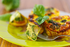 Baked omelet with brussels sprouts Stock Images