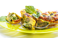 Baked omelet with brussels sprouts Royalty Free Stock Photo