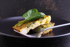 Baked omelette with spinach Royalty Free Stock Image