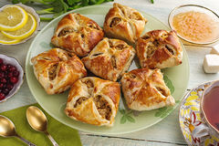 Baked open pies with filling Stock Image