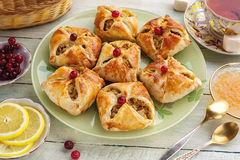 Baked open pies with filling Royalty Free Stock Photos