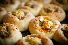 Baked open pies with meat Royalty Free Stock Images