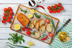 Baked in oven Gefilte fish loaf Stock Photos
