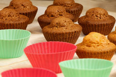 Baked in the oven muffins. Cakes in molds on a tray after baking in the oven Royalty Free Stock Photos
