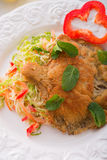 Baked oyster mushrooms with fresh savoy cabbage salad Stock Images