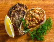 Baked oyster shell with cheese, served greens and lemon Stock Image