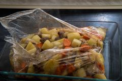Baked in the package turkey meat with potatoes and carrots Stock Images