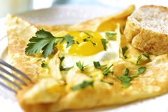 Baked pancake with egg,ham and cheese. Royalty Free Stock Photography