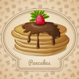 Baked pancakes emblem Royalty Free Stock Images