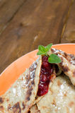 Baked pancakes with jam Royalty Free Stock Photography