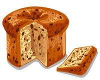 Baked panettone cake. Illustration of baked panettone cake with raisins Royalty Free Stock Photography