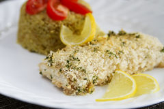 Baked Panko Crusted Fish Royalty Free Stock Photography