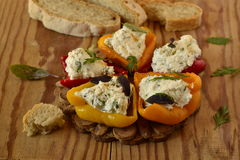 Baked paprika stuffed with cottage cheese Stock Images