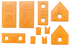 Baked parts for build of Christmas gingerbread house Royalty Free Stock Photography