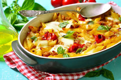 Baked pasta bolognese. Stock Image