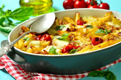 Baked pasta bolognese. Royalty Free Stock Image