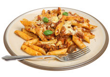 Baked Pasta with Bolognese Sauce. Baked rigatoni pasta with bolognese sauce and cheese Stock Photo