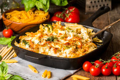 Baked pasta with broccoli, cauliflower, cheese and bechamel sauc Royalty Free Stock Photos