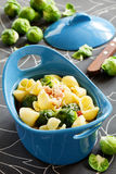 Baked pasta with brussels Stock Images
