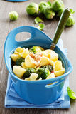 Baked pasta with brussels sprouts. Royalty Free Stock Photography
