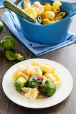 Baked pasta with brussels sprouts. Royalty Free Stock Photos