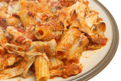 Baked Pasta with Chicken & Cheese. Baked rigatoni with chicken, tomato ragu and cheese Royalty Free Stock Photos