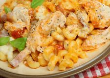 Baked Pasta Gratin with Chicken & Bacon Royalty Free Stock Image