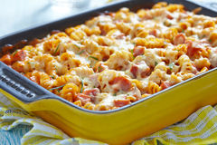 Baked pasta with ham Stock Images
