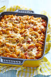 Baked pasta with ham Stock Image