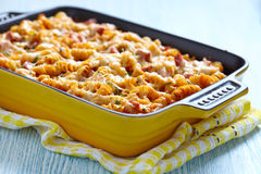 Baked pasta with ham Royalty Free Stock Photo