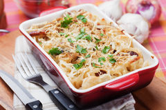 Baked pasta. Italian style baked pasta with cheese and bacon Stock Photo