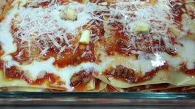 Baked pasta, Lasagna stock video
