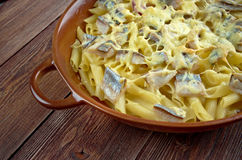Baked pasta penne with mackerel Royalty Free Stock Images