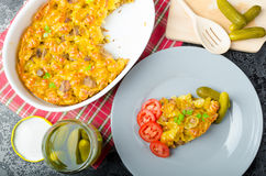 Baked Pasta with pork meat Royalty Free Stock Photography