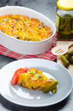 Baked Pasta with pork meat Royalty Free Stock Images