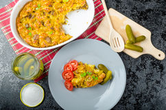 Baked Pasta with pork meat Stock Images