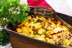 Baked pasta with saussage Royalty Free Stock Photo