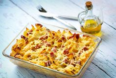 Baked pasta with smoked meat Royalty Free Stock Photo