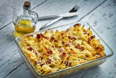 Baked pasta with smoked meat Royalty Free Stock Photos