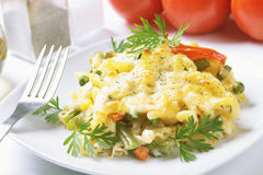 Baked pasta with vegetables Royalty Free Stock Image