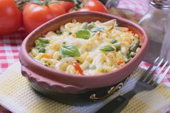 Baked pasta with vegetables Stock Photo