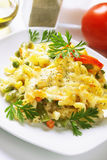 Baked pasta with vegetables Stock Images