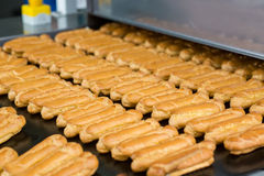 Baked pastry on conveyor. Lots of yellow eclair shells. Dessert made of natural ingredients. Product made for wholesale Stock Image