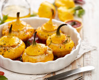 Baked Pattypan squash , stuffed with cheese Royalty Free Stock Photography