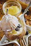 Baked pear with curd Royalty Free Stock Image