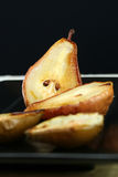 Baked Pear Dessert. A platter of healthy gourmet baked pears Stock Image